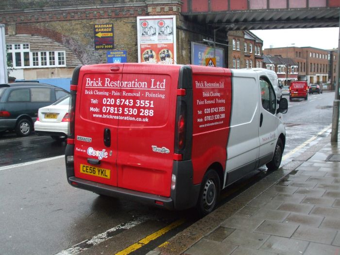 Vehicle wrap in red and white  Brick Restoration Ltd