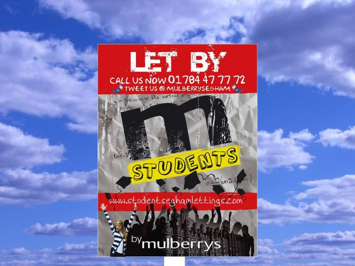 Portrait digital estate agent board - students M Students Mulberrys LET BY
