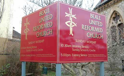V post mounted sign Bexley reform church