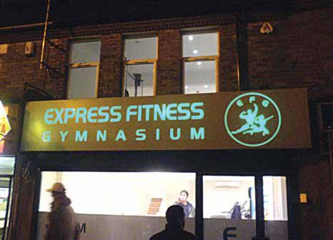 Shop fascia - Express Fitness Illuminated gymnasium sign