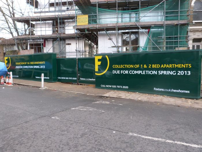 Foxtons Construction Hoarding Full colour digitally printed site hoarding panels