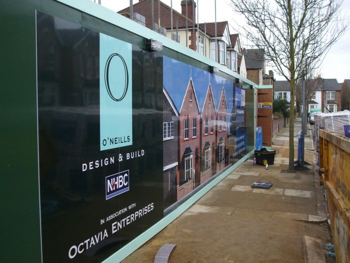 Foamex hoarding in Kingston Octavia enterprises development Hoarding