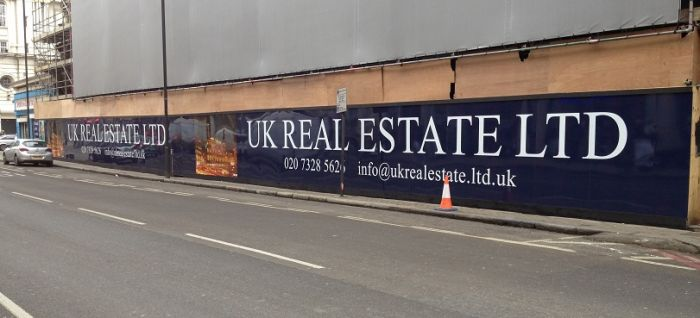 Laminated, digital print dibond hoarding in Kings Cross UK Real Estate LTD, The Lighthouse