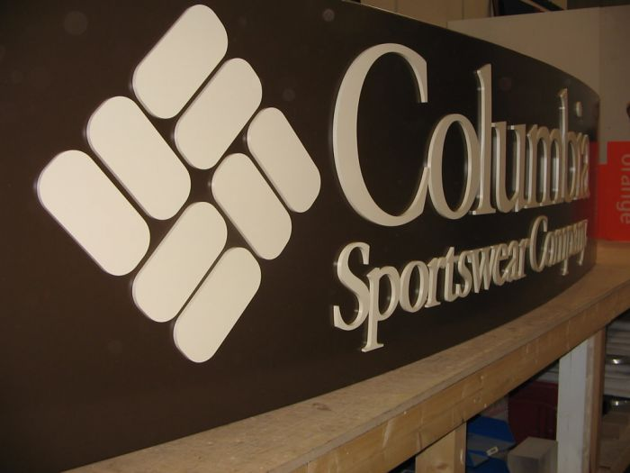 Curved acrylic signage with backlight Colombia Sportswear Company