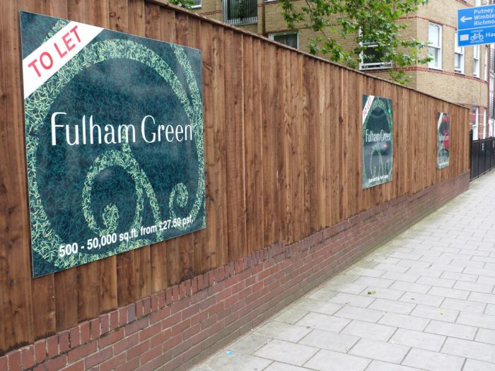 Full colour printed panels mounted on hoarding Fulham Green Development