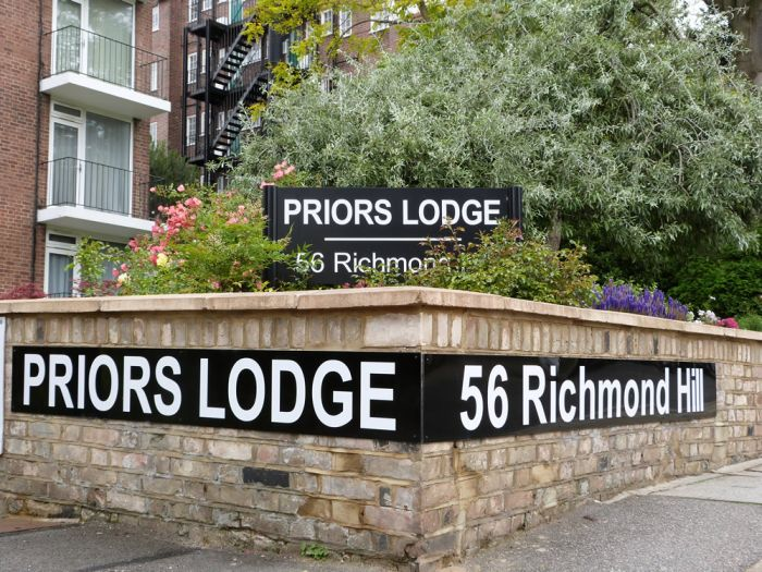 white vinyl on acrylic backboard for private street sign Priors Lodge, 56 Richmond Hill