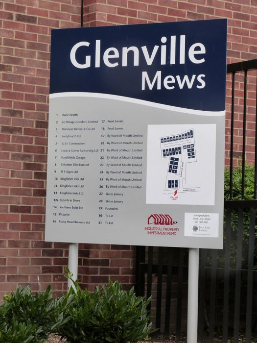Map and directions notice board for estate Glenville Mews