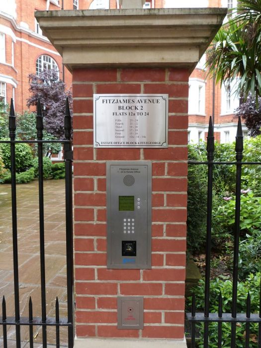 Entrance gate engraving and intercom Fitzjames Avenue