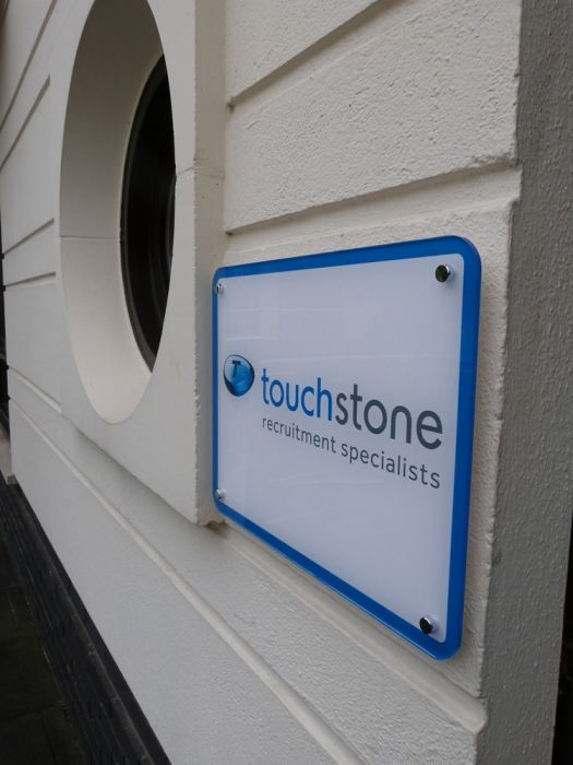 Alternative (from engraving) wall mounted company logo Touchstone recruitment specialists