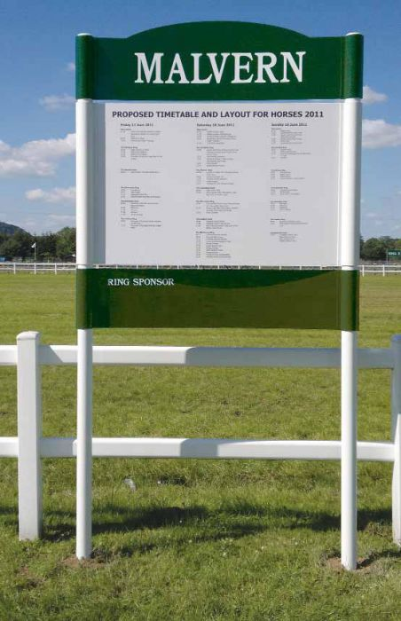 Large post mounted tray sign with regular updates Malvern Racecourse