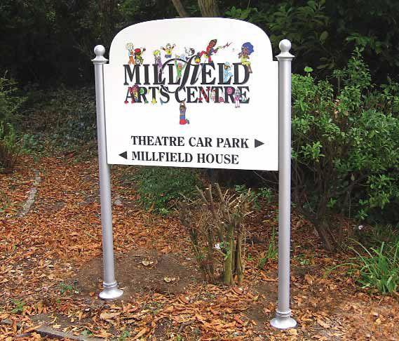 Shaped post mounted tray with full colour sign. Millfield Arts Centre
