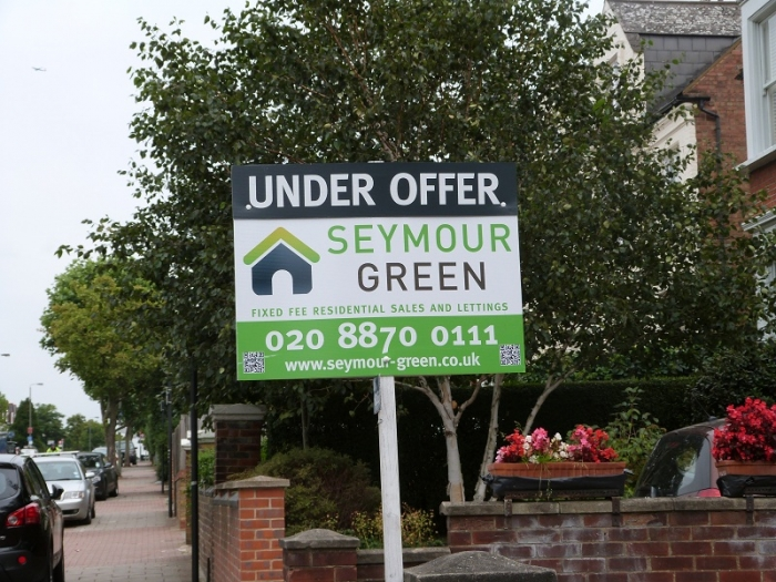 Landscape estate agent board - Seymour Green Under Offer