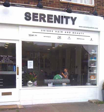 Shop fascia - Serenity Black and white - unisex hair and beauty