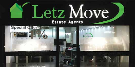 Shop fascia - Letz move Illuminated estate agent shop sign