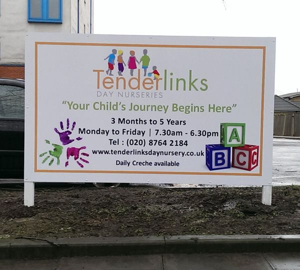 Post Mounted Digitally Printed Sign Tenderlink Day Nurseries Post Mounted Sign