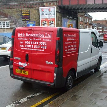 Vehicle wrap in red and white