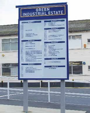 Post Mounted Industrial Estate Sign Directory